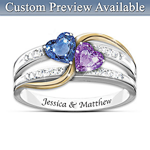 """""""Forever Love"""" Personalized Crystal Birthstone Ring"""