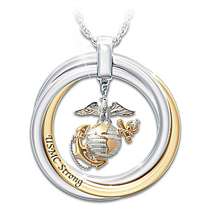 """""""USMC Strong"""" Pendant Necklace With Engraved Rolling Rings"""