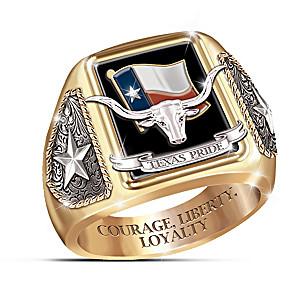 """""""Texas Pride"""" Diamond And Black Onyx Hand-Enameled Ring"""