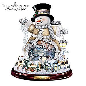 "Thomas Kinkade ""Spreading Holiday Cheer"" Snowman Sculpture"