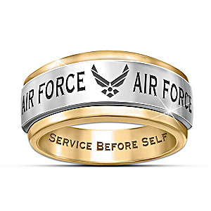 U.S. Air Force Ring In Stainless Steel With Spinning Center