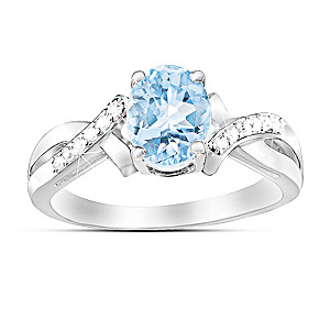 """Elegance"" Sterling Silver Aquamarine And Diamond Ring"