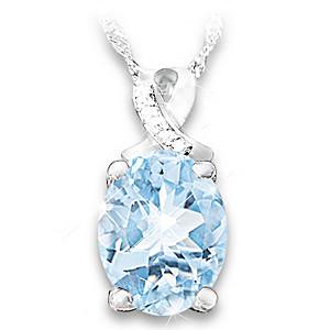 Diamond Pendant Necklace With An Over-1-Carat Aquamarine