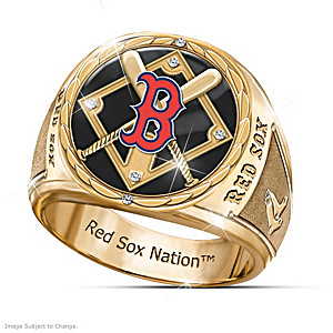Red Sox Commemorative Ring With Diamond Cut Accents