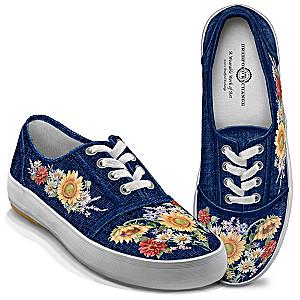 "Lena Liu ""Garden Of Sunshine"" Women's Canvas Art Sneakers"