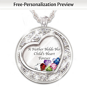 Necklace a mother holds her childs heart personalized birthstone mother holds her childs heart birthstone pendant with names aloadofball Images
