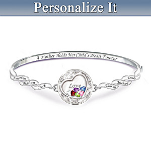 """A Mother Holds Her Child's Heart"" Personalized Bracelet"