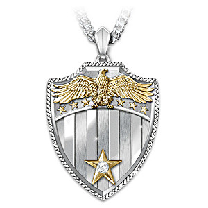 """""""Free Because Of The Brave"""" Diamond Pendant Necklace"""