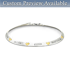 """Family Blessings"" Name-Engraved Herringbone-Style Bracelet"