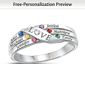 Love Holds Our Family Together Ring With Names & Birthstones