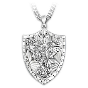 brothers necklace my and protector sisters st silver of michael pin all saint plated prayers