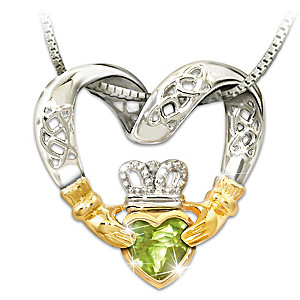 """Irish Love"" Celtic Knot & Claddagh Peridot Pendant Necklace"
