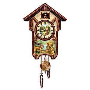 """Linda Picken """"Gentle Golden Retrievers"""" Wall Clock"""