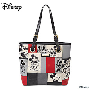 Disney Mickey Mouse And Minnie Mouse Patchwork Tote Bag