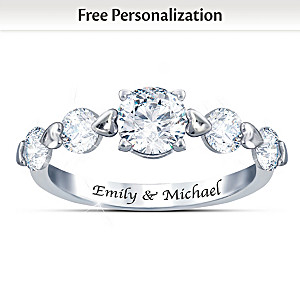 """Romance"" White Topaz Ring Engraved With Your 2 Names"