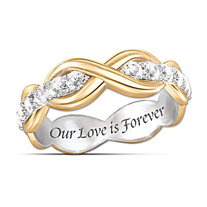 """Love Is Forever"" White Sapphire Infinity Eternity Ring"