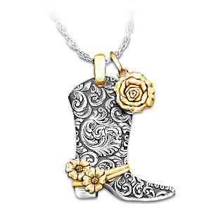 """Country Rose"" Western Boot Pendant Necklace"