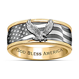 """Freedom Soars"" Engraved Men's Spinning Ring"
