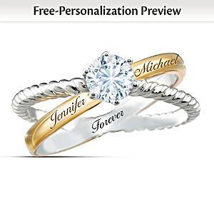 """""""Everlasting Love"""" Engraved White Topaz Infinity Ring"""