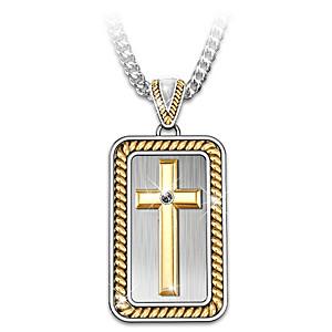 """Strength In God"" Men's Cross Pendant Necklace"