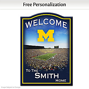 Michigan Wolverines Welcome Sign Personalized With Name