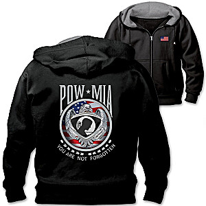 """Never Forgotten"" Men's Black Hoodie With POW MIA Art Patch"