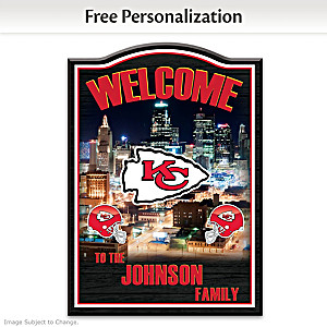 Chiefs Wooden Welcome Sign Personalized With Name