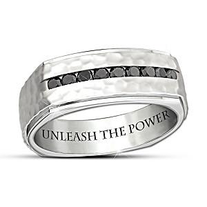 """""""Thor's Hammer"""" Black Sapphire Stainless Steel Men's Ring"""