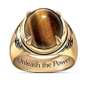 """Tiger's Eye"" Men's Ring With Engraved Statement"