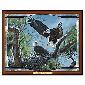 Terry Isaac Eagle Nest Illuminated Stained Glass Wall Decor