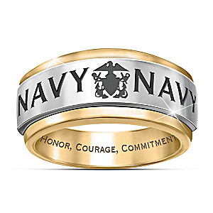 """Navy Honor"" 24K Gold Ion-Plated Engraved Spinning Ring"