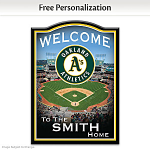 Oakland Athletics Wooden Welcome Sign Personalized With Name