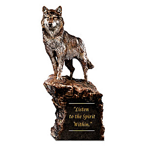 "Al Agnew ""Listen To The Spirit Within"" Cold-Cast Bronze Wolf"