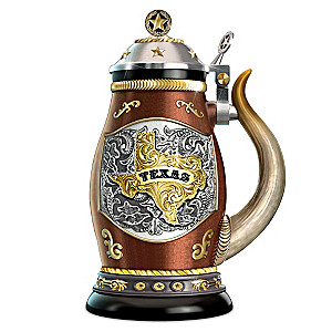 """Texas Pride"" Porcelain Stein With Longhorn Handle"