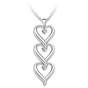 """Granddaughter, I Love You"" Infinity Heart Diamond Pendant"