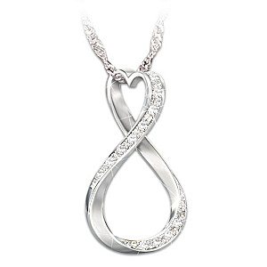 """Forever My Daughter"" Heart And Infinity Diamond Pendant"