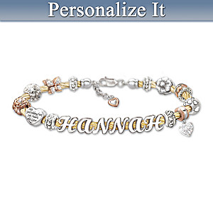 Granddaughter Cable Bracelet With Name In Letter Beads