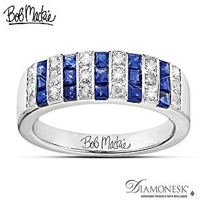 "Bob Mackie ""Blue And Bold"" Diamonesk Ring"