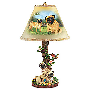 """Linda Picken """"Playful Pugs"""" Table Lamp"""