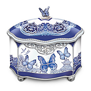 """Flights Of Love"" Blue Willow-Inspired Porcelain Music Box"