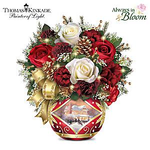 "Thomas Kinkade ""Holiday Cheer"" Lighted Floral Centerpiece"