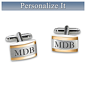 """Esquire"" Personalized Stainless Steel Cuff Links"