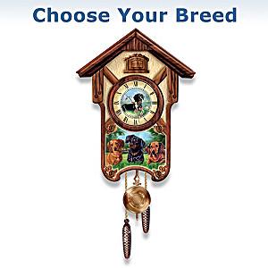 Linda Picken Playful Pups Wall Clock: Choose Your Breed