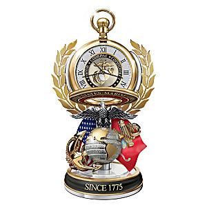 """Semper Fi"" Pocket Watch With Display And FREE Fact Cards"