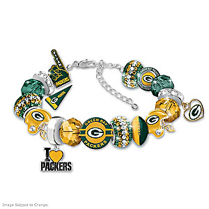 """Fashionable Fan"" Packers Beaded Charm Bracelet"