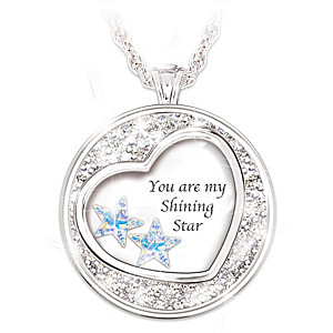"""My Shining Star"" Granddaughter Pendant With 2 Crystal Stars"