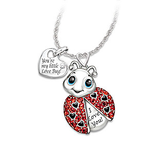 """Granddaughter, You're Cute As A Bug"" Crystal Necklace"