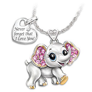 Granddaughter never forget i love you engraved elephant pendant granddaughter never forget i love you crystal necklace aloadofball Choice Image