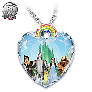 """The Wizard Of Oz """"Over The Rainbow"""" Crystal Heart Necklace"""
