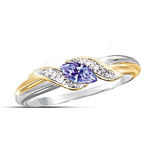 "Tanzanite ""Embrace"" Ring With Diamonds"
